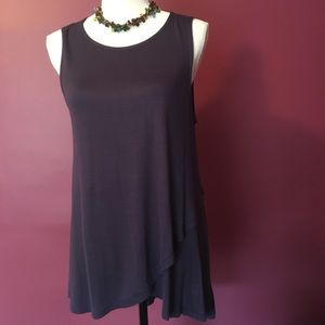 Bobeau Navy Flowing Tank Tunic